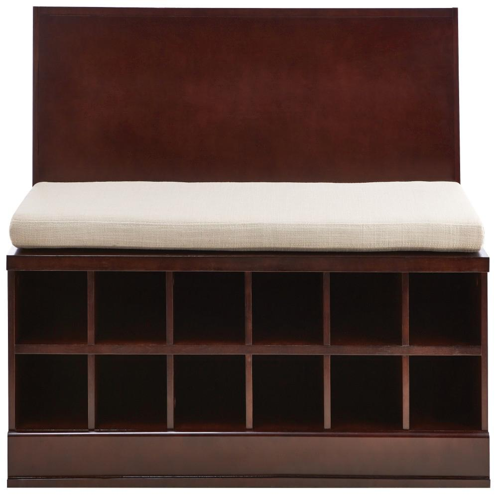 Bismark Smokey Brown Modular Storage Bench with Wall Shelf and 2-Drawer