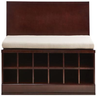 65.5 in. Bismark Smokey Brown Wide Storage Bench with 1-Drawer Cabinet and Wall Shelf with Mirror