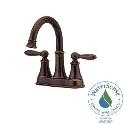 Centerset 2 Handle Bathroom Faucet In Rustic Bronze