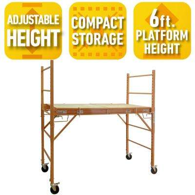 3-in-1 Jobsite Work Desk, 6 ft. Scaffold and Mobile Utility Cart - Compact Fits in Car Trunk