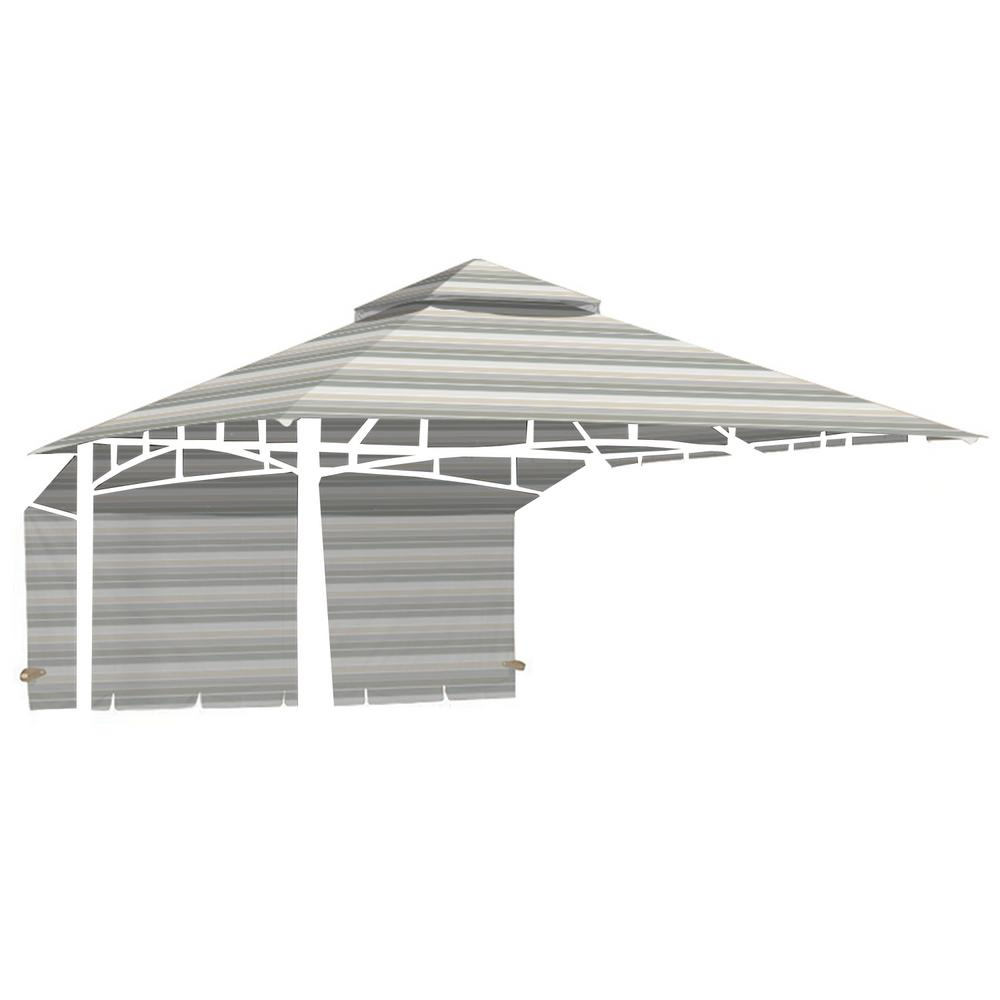 Standard 350 Stripe Stone Replacement Canopy for 10 ft. x 10 ft. Garden House with Awning