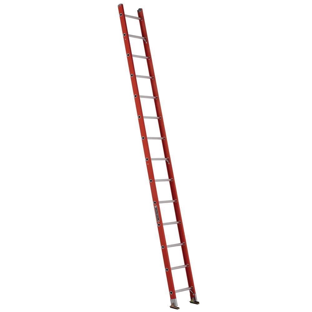14 ft. Fiberglass Single Ladder with 300 lbs. Load Capacity Type IA Duty Rating