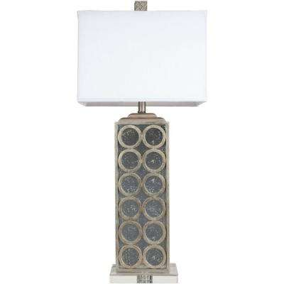 Silver Leaf And Aged Mirror Table Lamp
