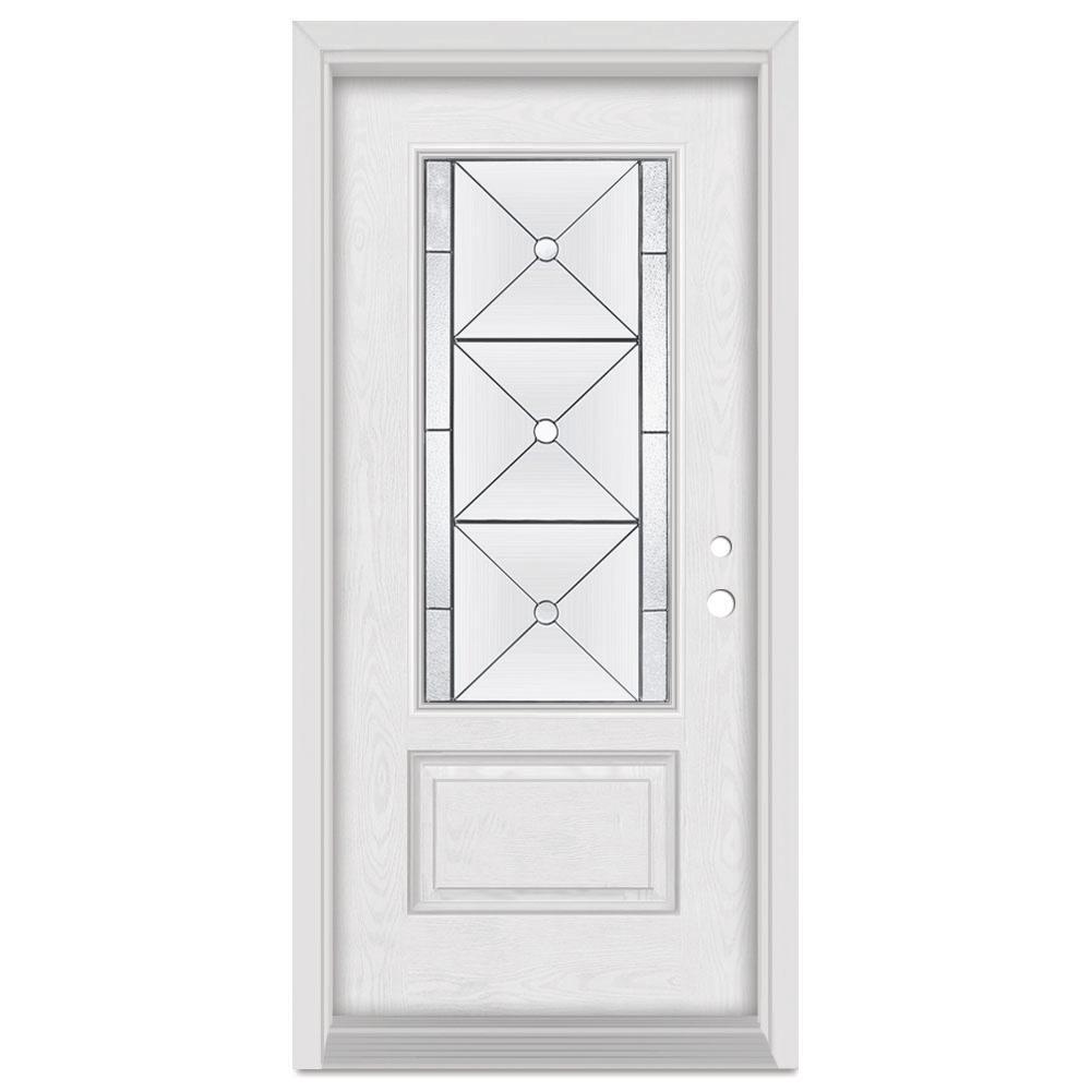 Stanley Doors 37.375 in. x 83 in. Bellochio Left-Hand 3/4 Lite Patina Finished Fiberglass Oak Woodgrain Prehung Front Door Brickmould