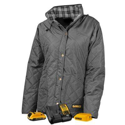 Women's Medium Charcoal Duck Fabric Heated Diamond Quilted Jacket with 20-Volt/2.0 AMP Battery and Charger