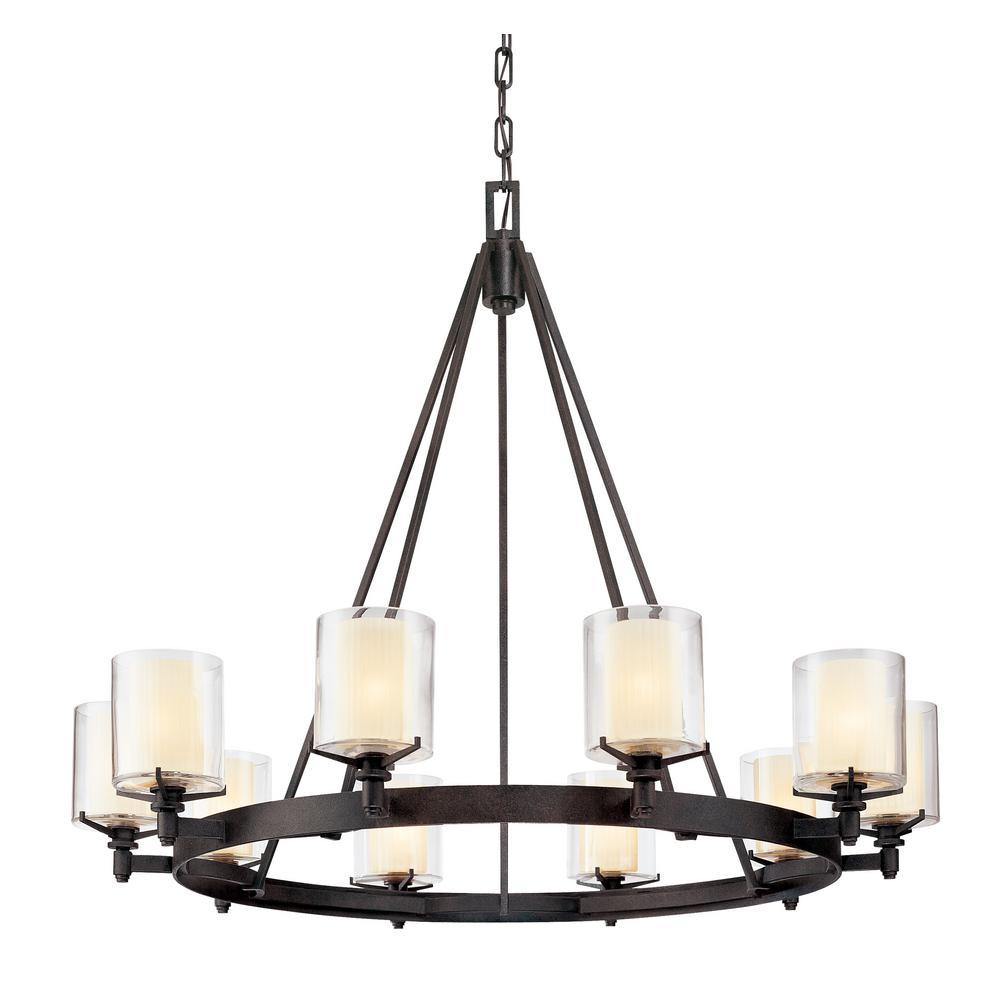Troy lighting arcadia 10 light french iron chandelier with clear troy lighting arcadia 10 light french iron chandelier with clear glass shade aloadofball Gallery