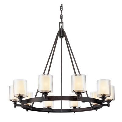 Arcadia 10-Light French Iron Chandelier with Clear Glass Shade
