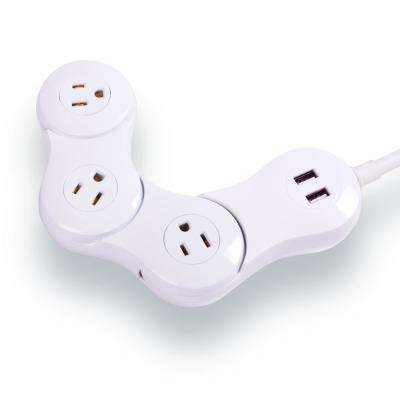 3-Outlet Pivot Power Desktop Flexible 2 USB Surge Protector with 4 ft. Cord