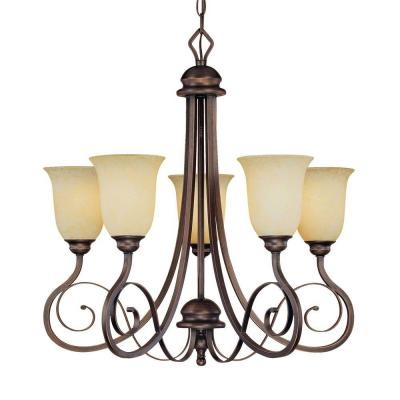 5-Light Rubbed Bronze Chandelier with Turinian Scavo Glass