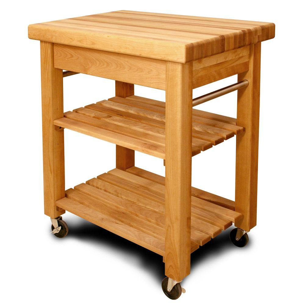 French Country Natural Kitchen Cart With Storage