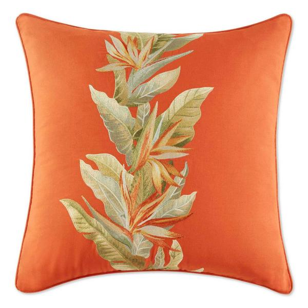 Birds of Paradise Red 8 in. x 8 in. Cotton Decorative Pillow