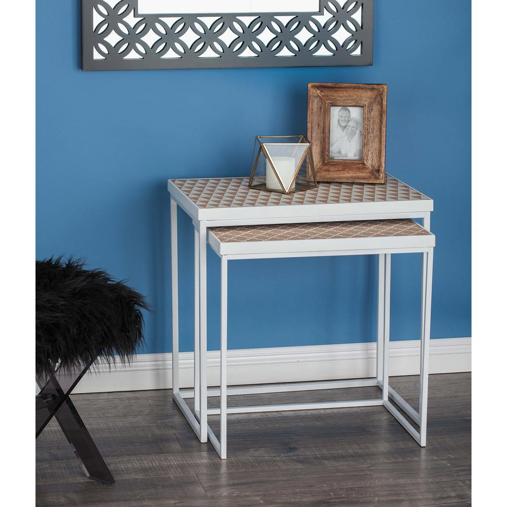 Chinese Fir Wood Brown Nesting Table With
