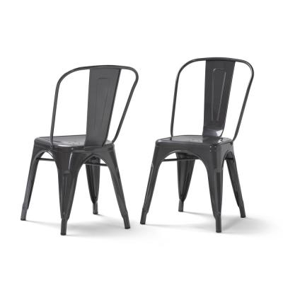 Fletcher Industrial Metal Dining Side Chair (Set of 2) in Grey
