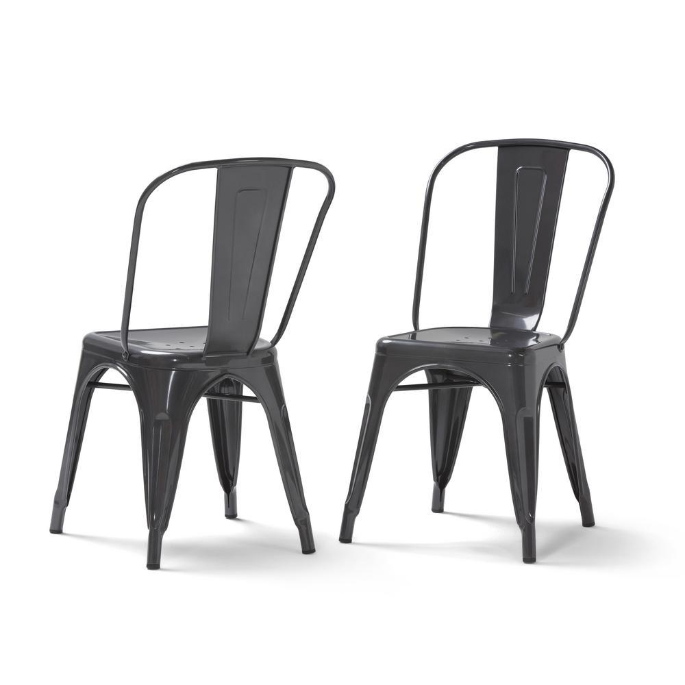 Fletcher Grey Metal Dining Side Chair (Set of 2)