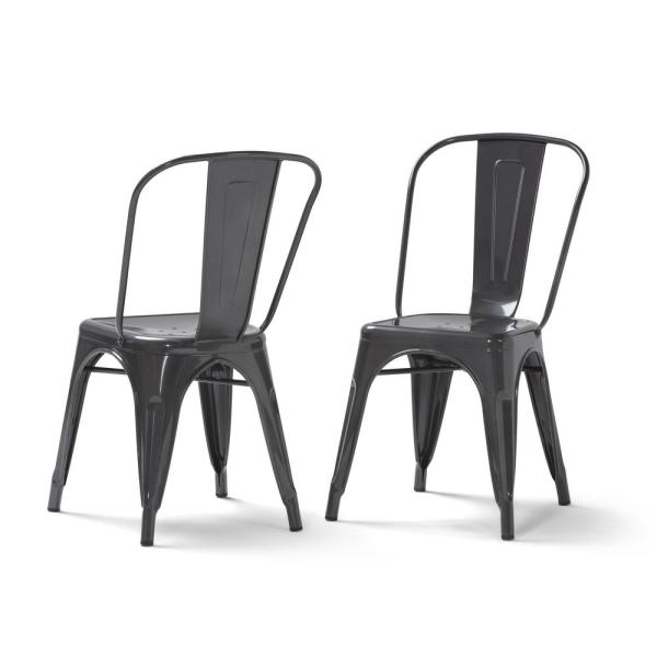 Simpli Home Fletcher Industrial Metal Dining Side Chair (Set of 2)