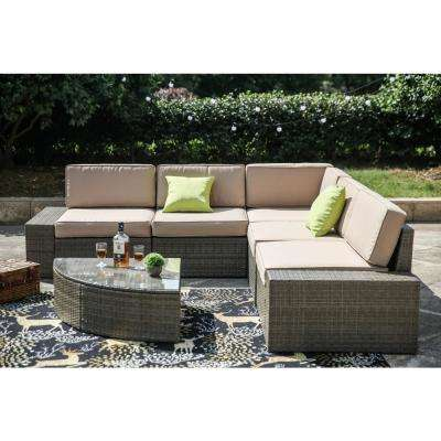 6-Piece Wicker Outdoor Sectional Set with Beige Cushions