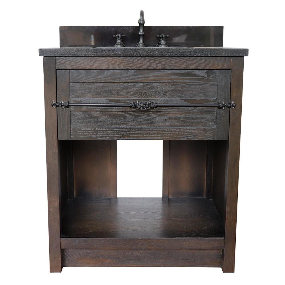 Bellaterra Home Plantation II 31 in. W x 22 in. D Bath Vanity in Brown with Granite Vanity Top in Black with White Rectangle Basin