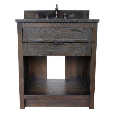 Plantation II 31 in. W x 22 in. D Bath Vanity in Brown with Granite Vanity Top in Black with White Rectangle Basin