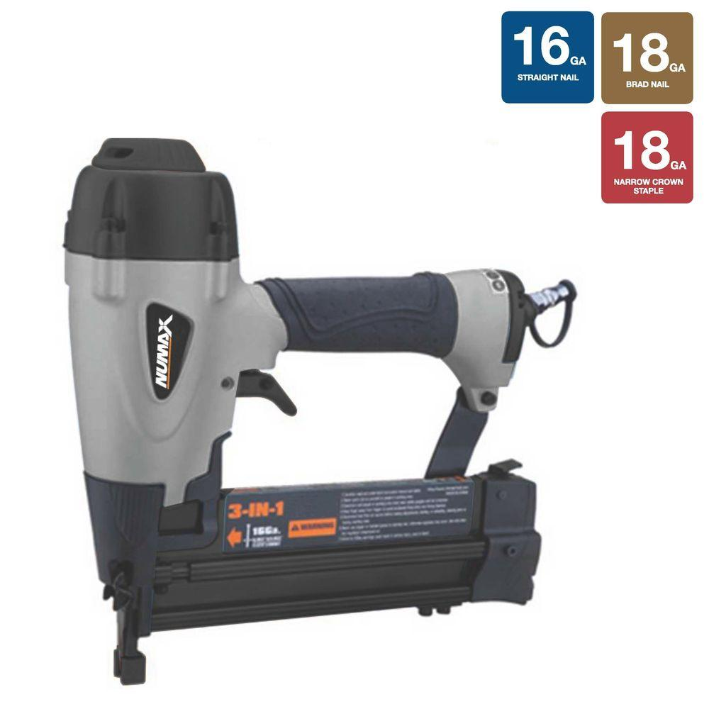 Pneumatic 3-In-1 16-Gauge and 18-Gauge Brad Nailer and St...