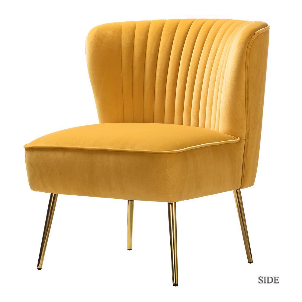 Monica Mustard GoLd Legs Velvet Side Chair