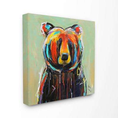 "24 in. x 24 in.  ""Abstract Colorful Painted Black Bear"" by Karrie Evenson Canvas Wall Art"