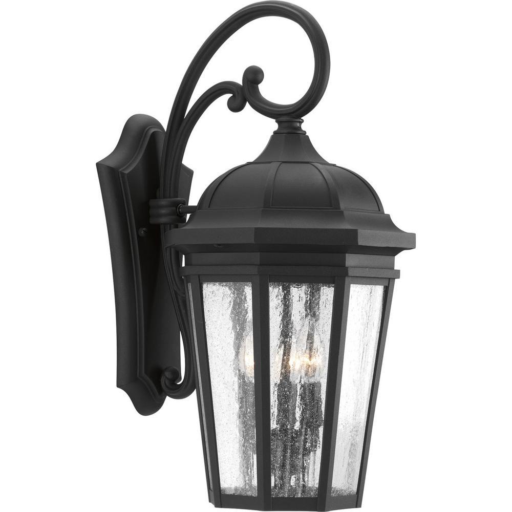 Verdae Collection 3-Light Outdoor Black Wall Lantern