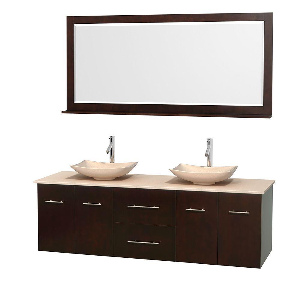 Centra 72 in. Double Vanity in Espresso with Marble Vanity Top