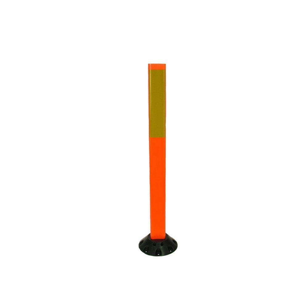 Three D Traffic Works 36 in. Orange Delineator Post with Base and 3 in. x 12 in. High-Intensity Yellow Strip