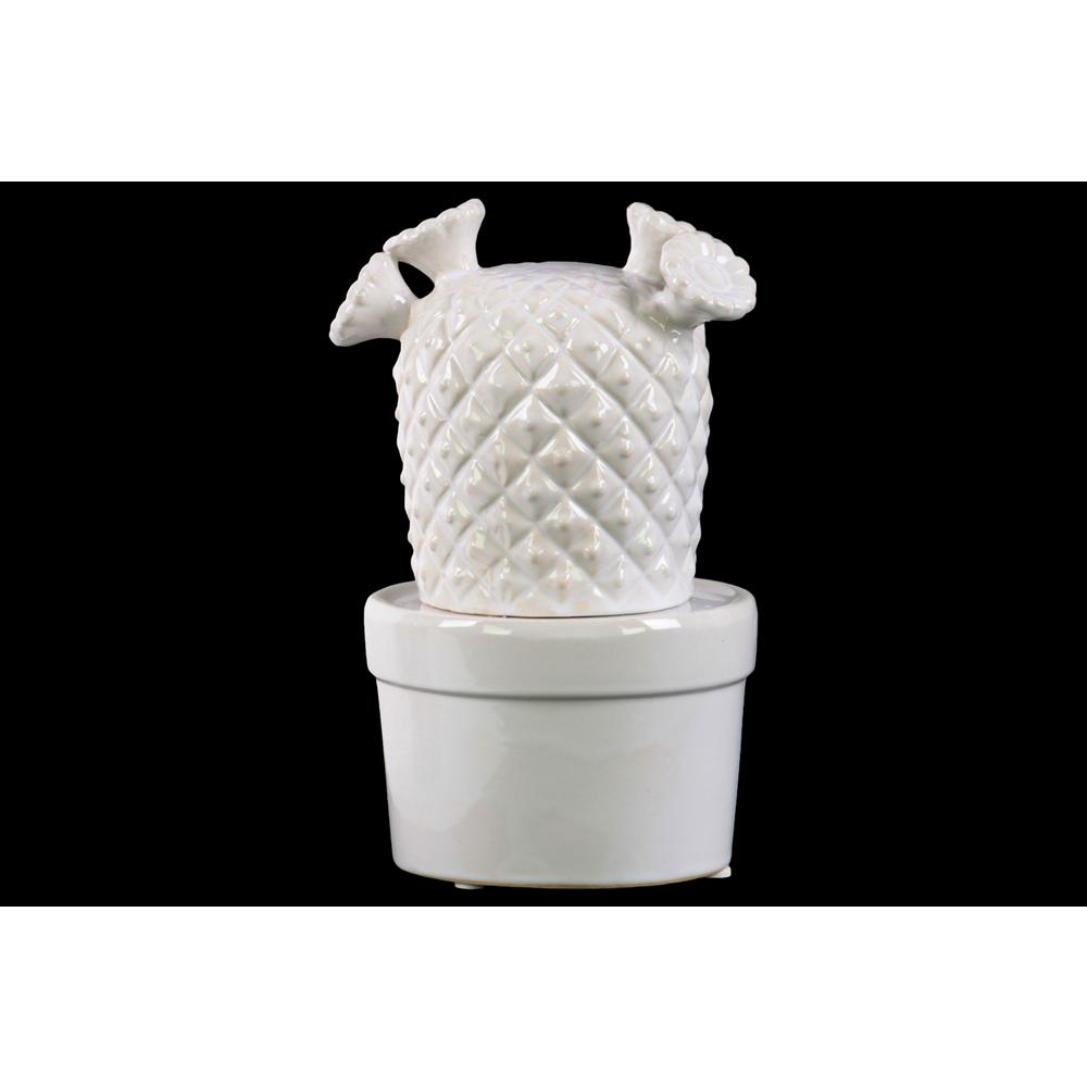 Urban Trends Collection 7 25 In H Cactus Decorative Figurine In White Gloss Finish 50556 The Home Depot