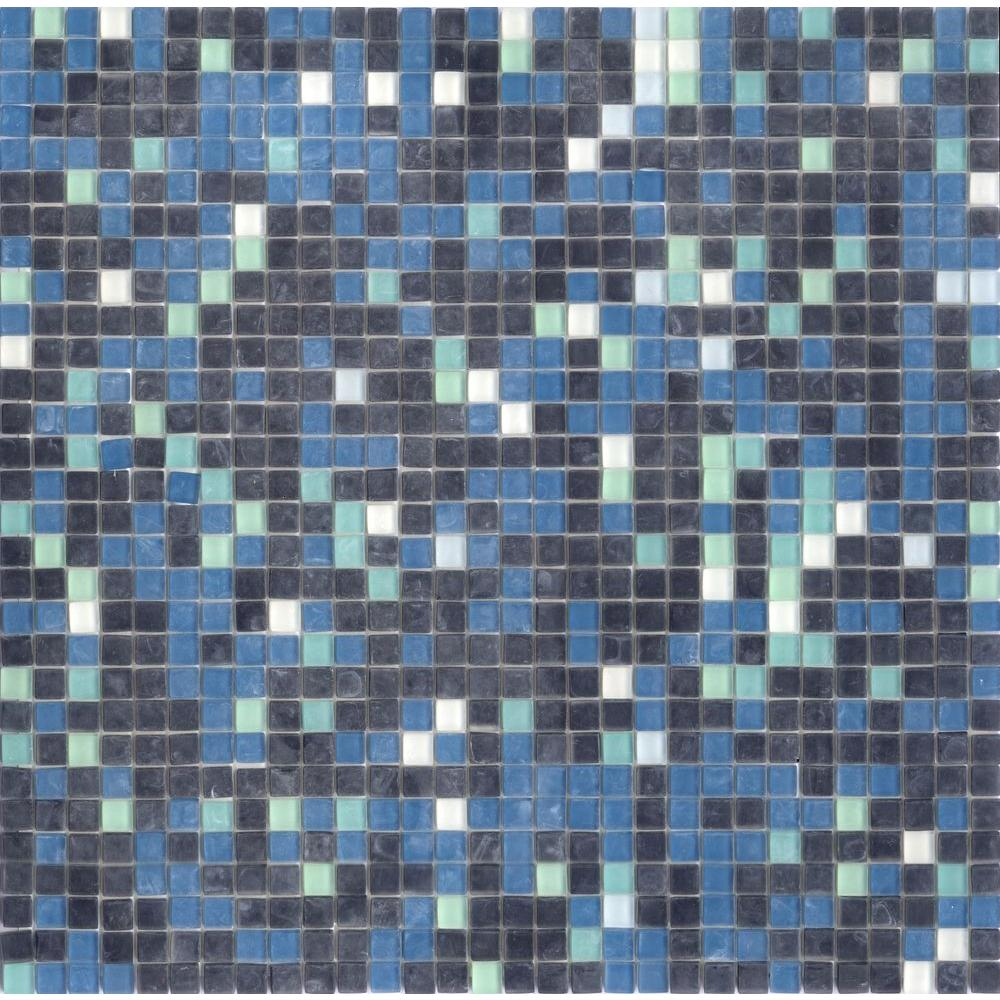 Elementz 12.8 in. x 12.8 in. Venice Deep Ocean Mix Frosted Glass Tile-DISCONTINUED