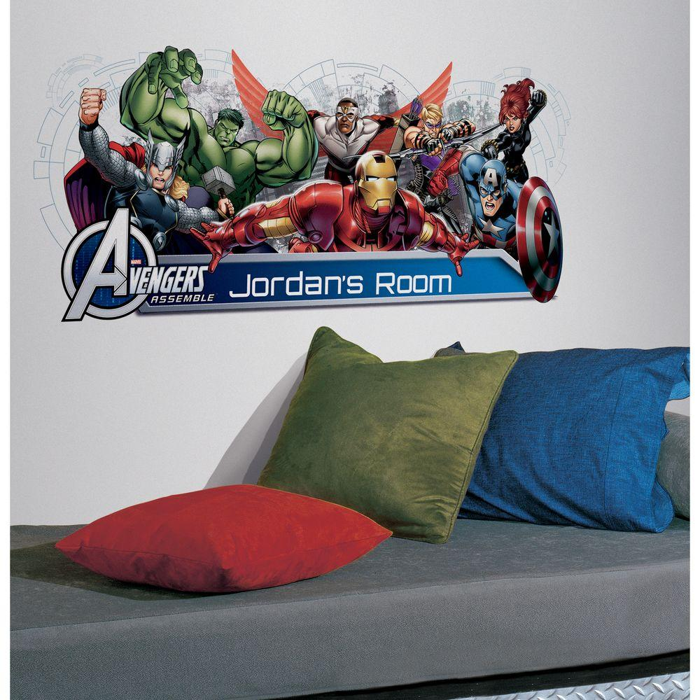 Avengers assemble personalization headboard peel and stick 108 avengers assemble personalization headboard peel and stick 108 piece wall decals rmk2240gm the home depot amipublicfo Images
