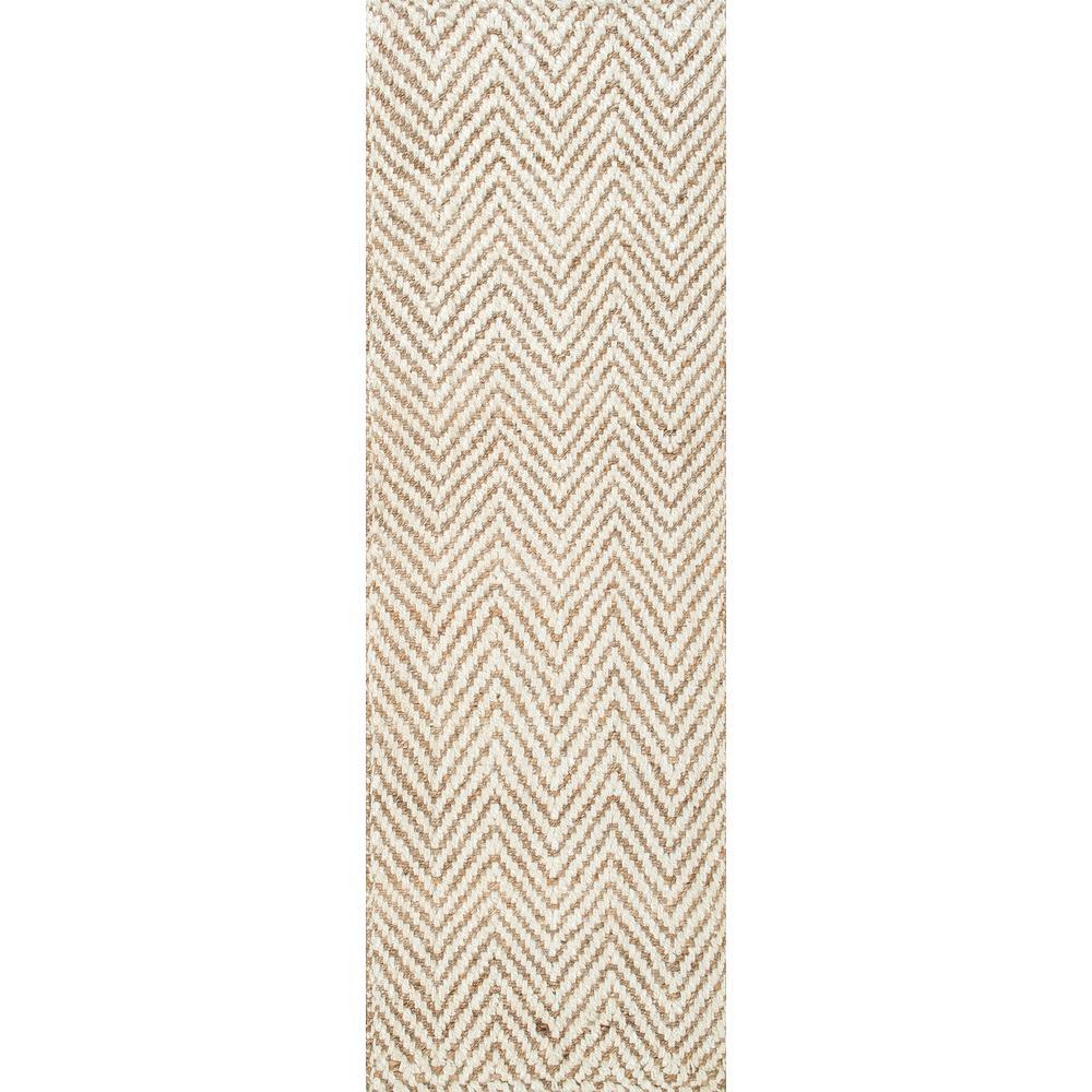nuLOOM Vania Chevron Jute Off White 3 ft. x 12 ft. Runner Rug