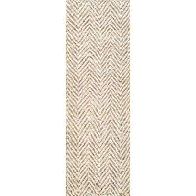 Vania Chevron Jute Off White 3 ft. x 12 ft. Runner Rug