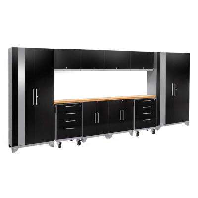 Performance 2.0 77.25 in. H x 156 in. W x 18 in. D 24-Gauge Welded Steel Bamboo Worktop Cabinet Set in Black (12-Piece)