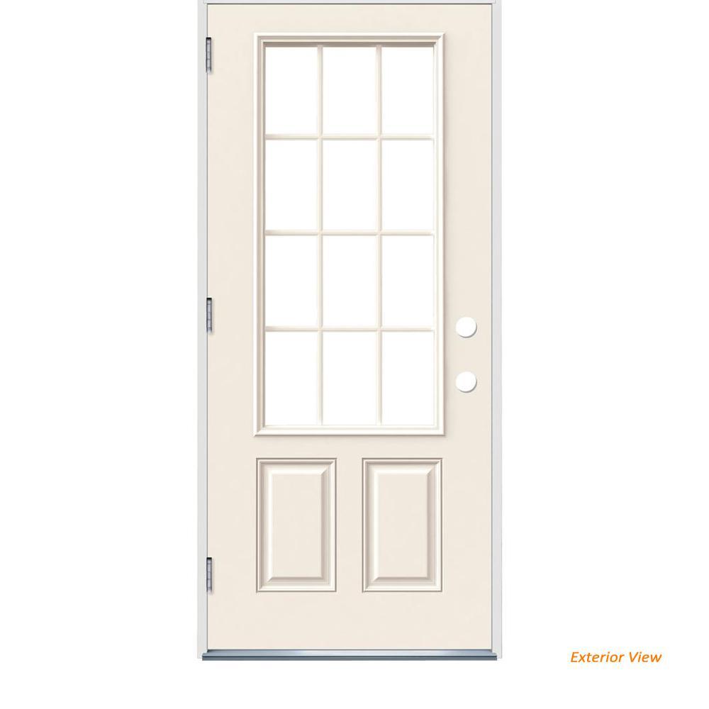 36 in. x 80 in. 12 Lite Primed Steel Prehung Right-Hand Outswing Front Door