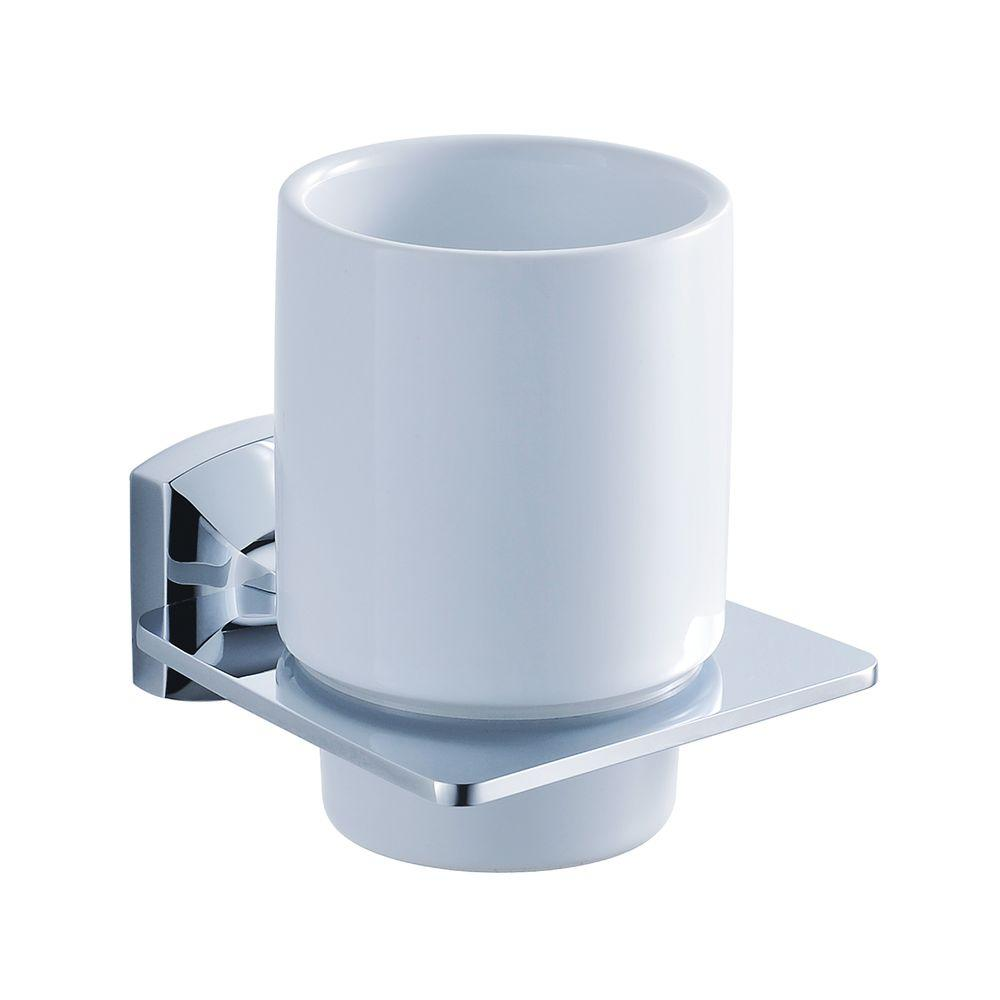 KRAUS Fortis Wall-Mounted Ceramic Tumbler Holder in Chrome-DISCONTINUED