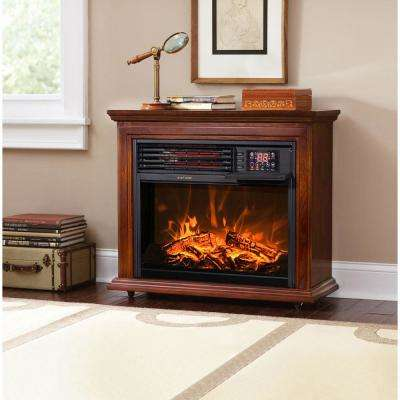 28.5 in. 1500-Watt Freestanding Compact Infrared Quartz Electric Fireplace Heater with Remote Control in Walnut Brown