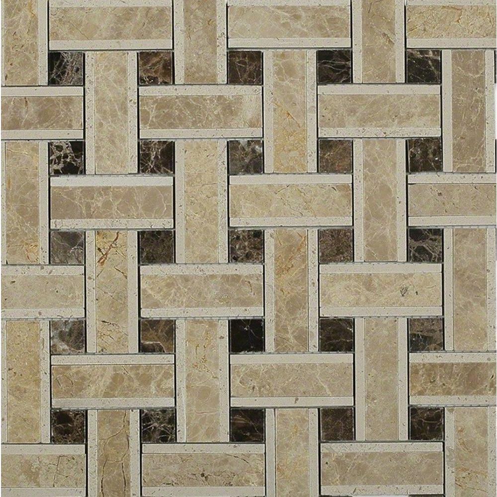 Splashback Tile Yarn Woven Wood Polished Marble Tile - 3 in. x 6 ...