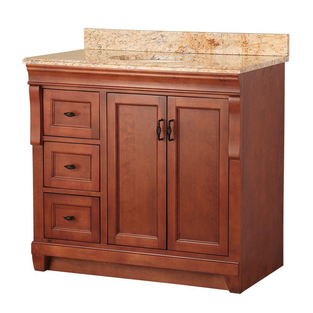 Home Decorators Collection Naples 37 in. W x 22 in. D Bath Vanity in Warm Cinnamon with Left Drawers with Stone Effects Vanity Top in Tuscan Sun