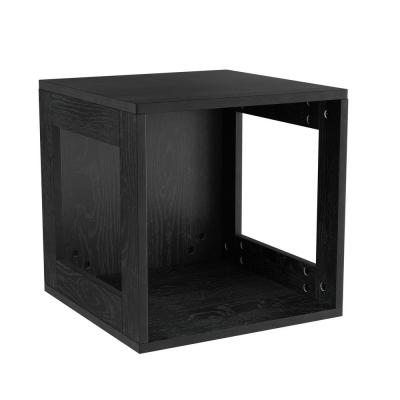Stackable Minimalist Modular Open-Sided Cube Table Black