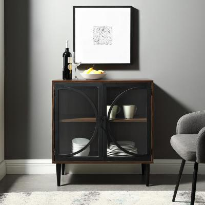"30"" Metal Door Accent Console w/ Tempered Glass - Dark Walnut"