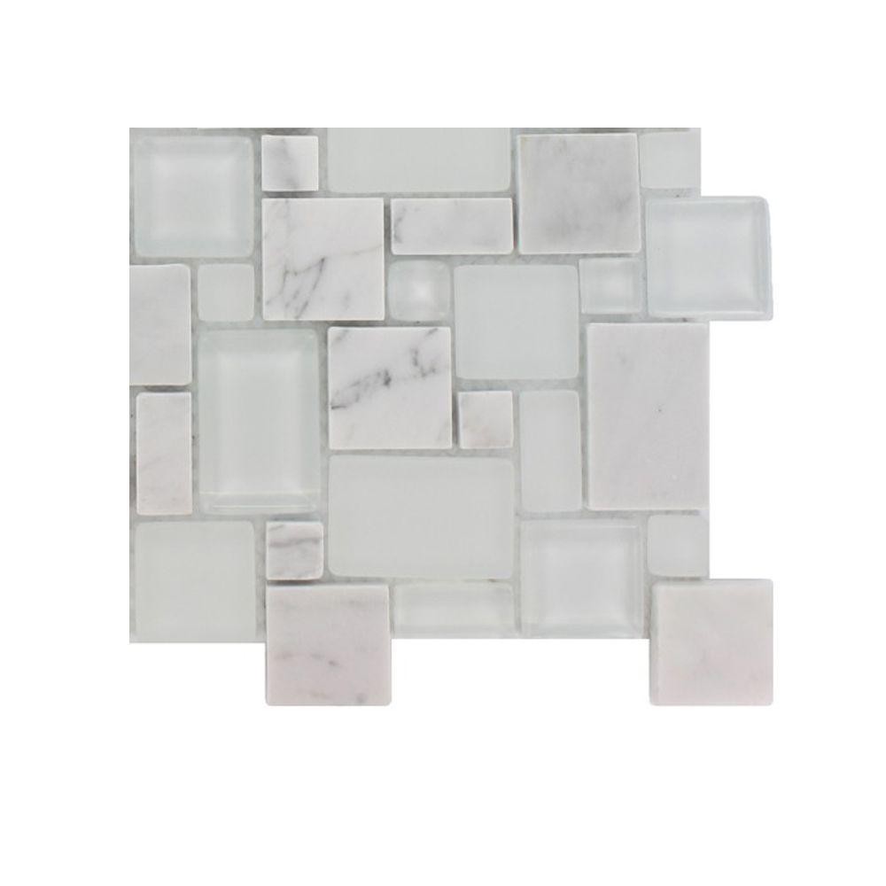 Splashback Tile Tetris Carrera Ice Parisian Pattern Glass Mosaic Floor and Wall Tile - 3 in. x 6 in. x 8 mm Tile Sample