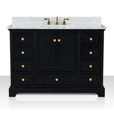 Audrey 48 in. W x 22 in. D Bath Vanity in Black Onyx with Marble Vanity Top in White with White Basin and Gold Hardware