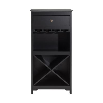 Bel Air Matt Black Wine Cabinet with Drawer and 4-Tier Wine Glass Holder