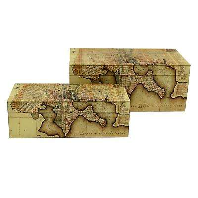 13.75 in. x 6.75 in. Glass Map Boxes in Yellow (Set of 2)
