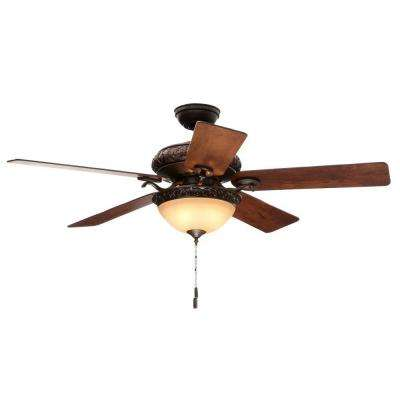 Vernazza 52 in. Indoor Brushed Cocoa Bronze Ceiling Fan with Light Kit