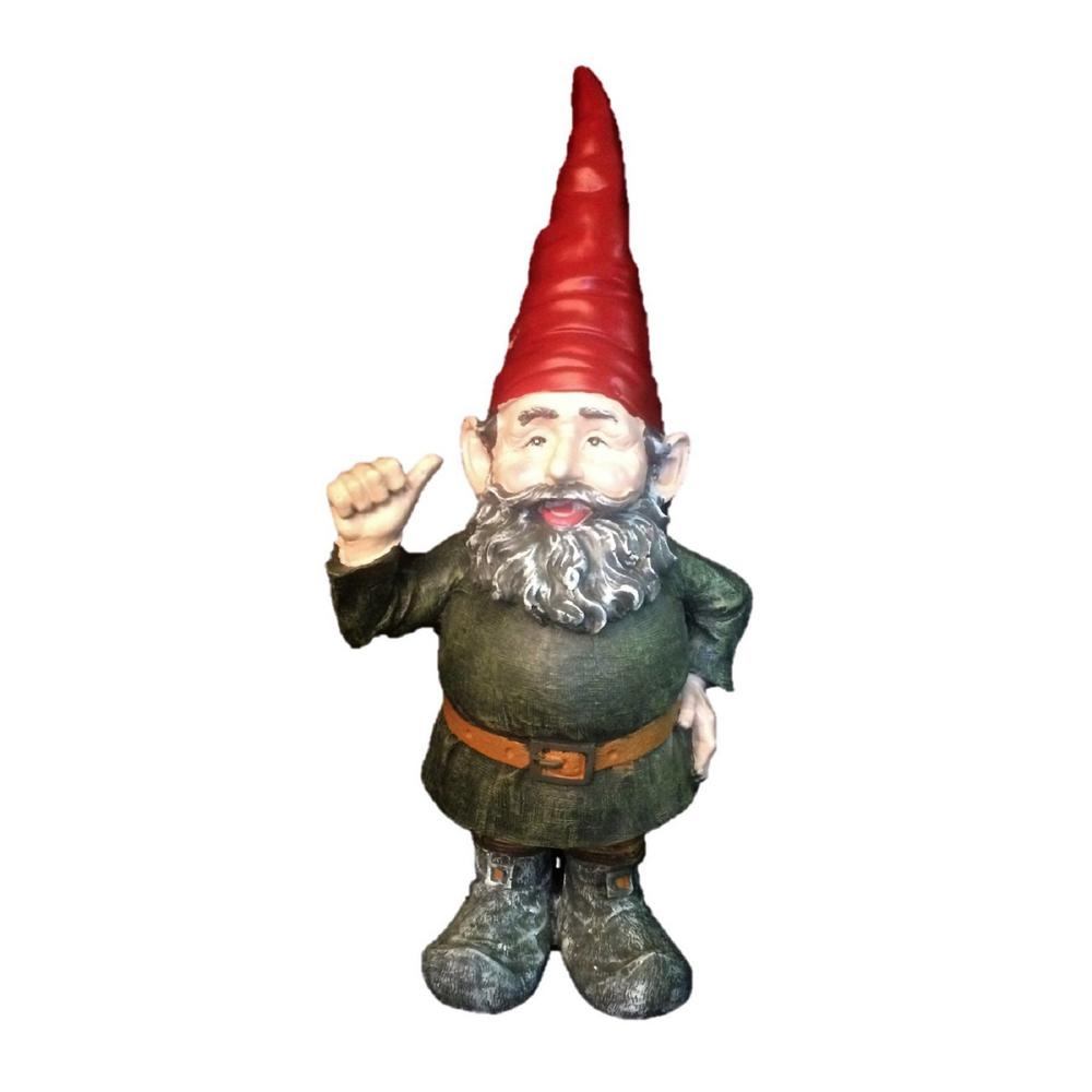 "HOMESTYLES 8.5 in. H ""Rumple"" the Garden Gnome Thumbs Up Figurine-36661 -  The Home Depot"