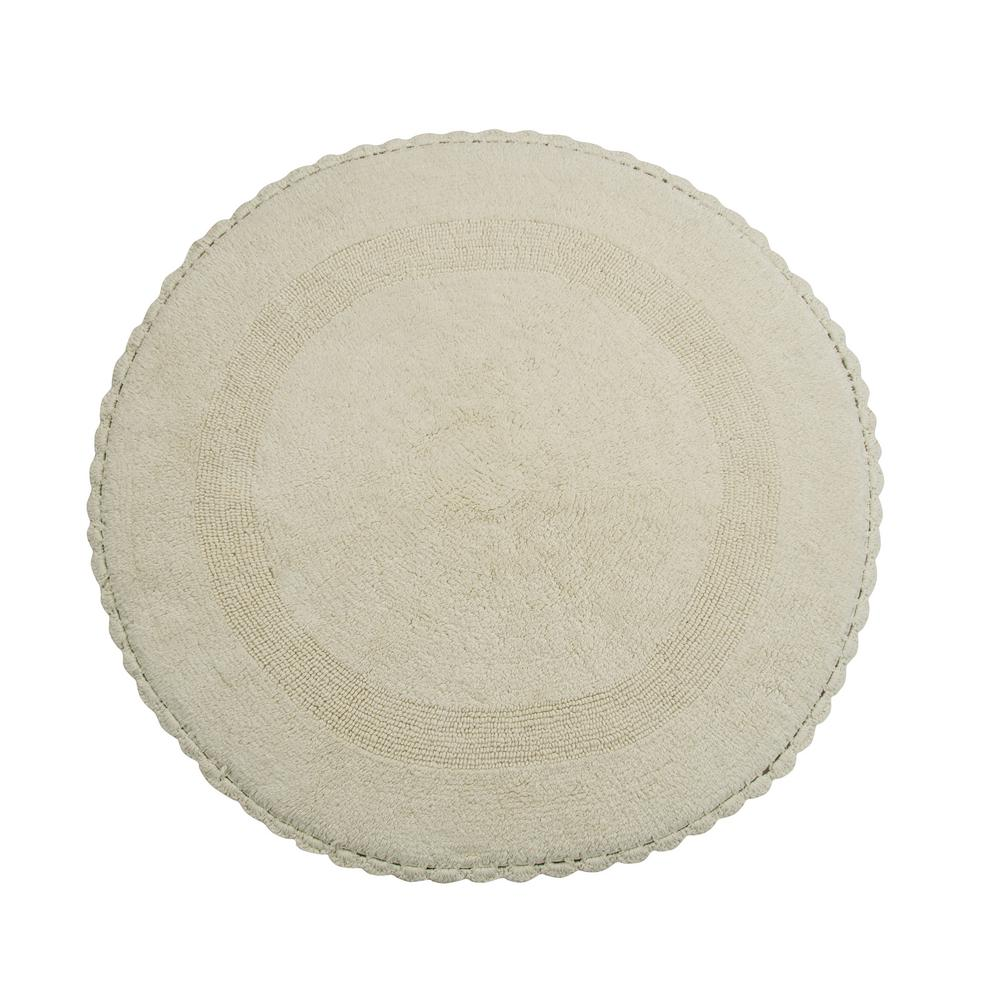 Crochet Lace 36 in. Round Cotton Reversible Ivory Hand Knitted Crochet
