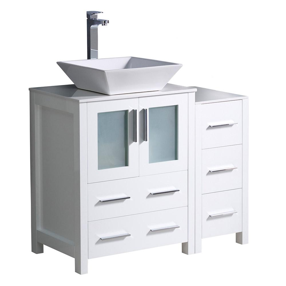 Fresca Torino 36 in. Bath Vanity in White with Glass Stone Vanity Top in White with White Basin and 1 Side Cabinet