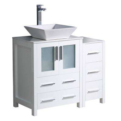 Torino 36 in. Bath Vanity in White with Glass Stone Vanity Top in White with White Basin and 1 Side Cabinet